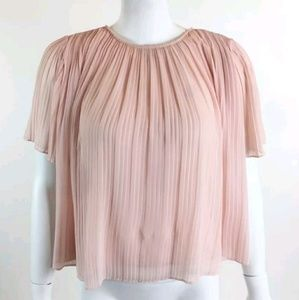 Chelsea28 Accordion Pleated Top Blouse Pink Small